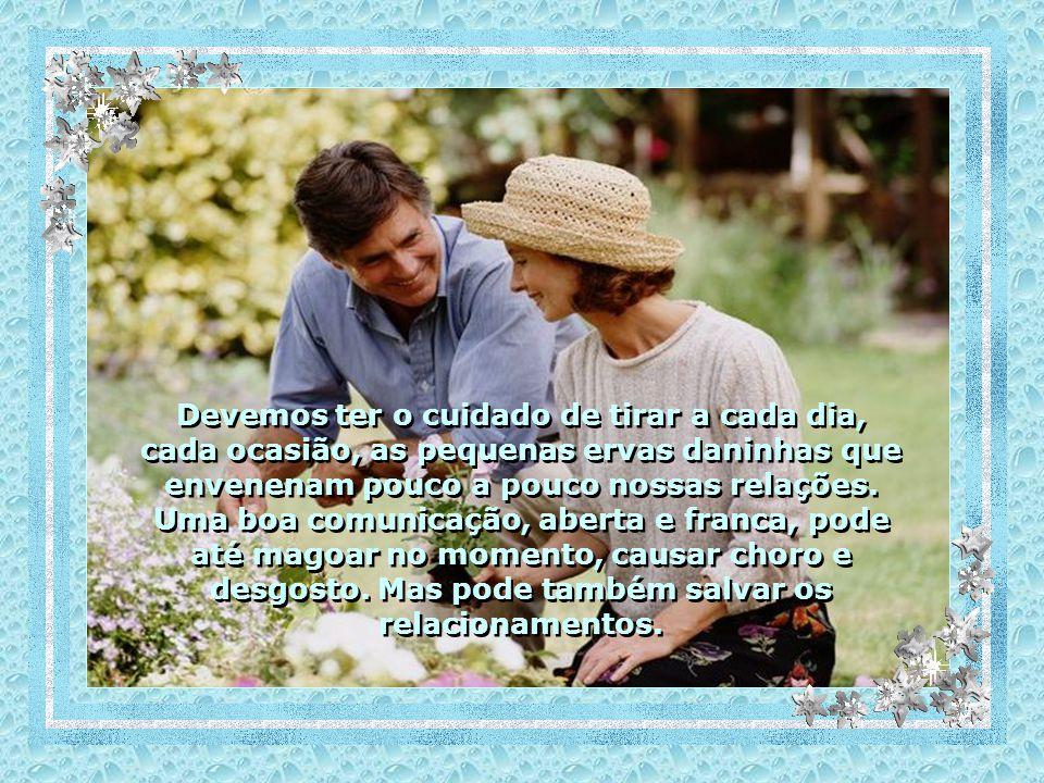 Devemos ter o cuidado de tirar a cada dia, cada ocasião, as pequenas ervas daninhas que envenenam pouco a pouco nossas relações.