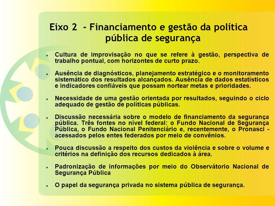 Eixo 2 - Financiamento e gestão da política pública de segurança