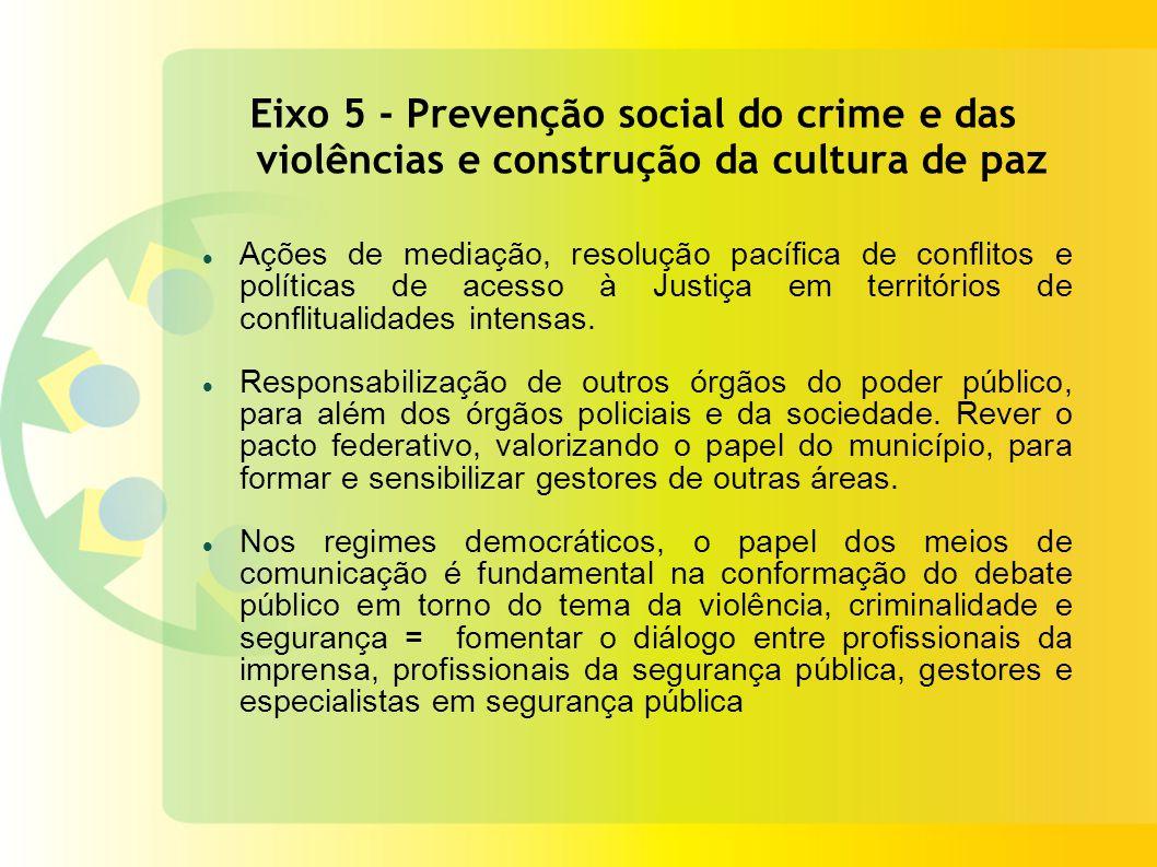 Eixo 5 - Prevenção social do crime e das violências e construção da cultura de paz