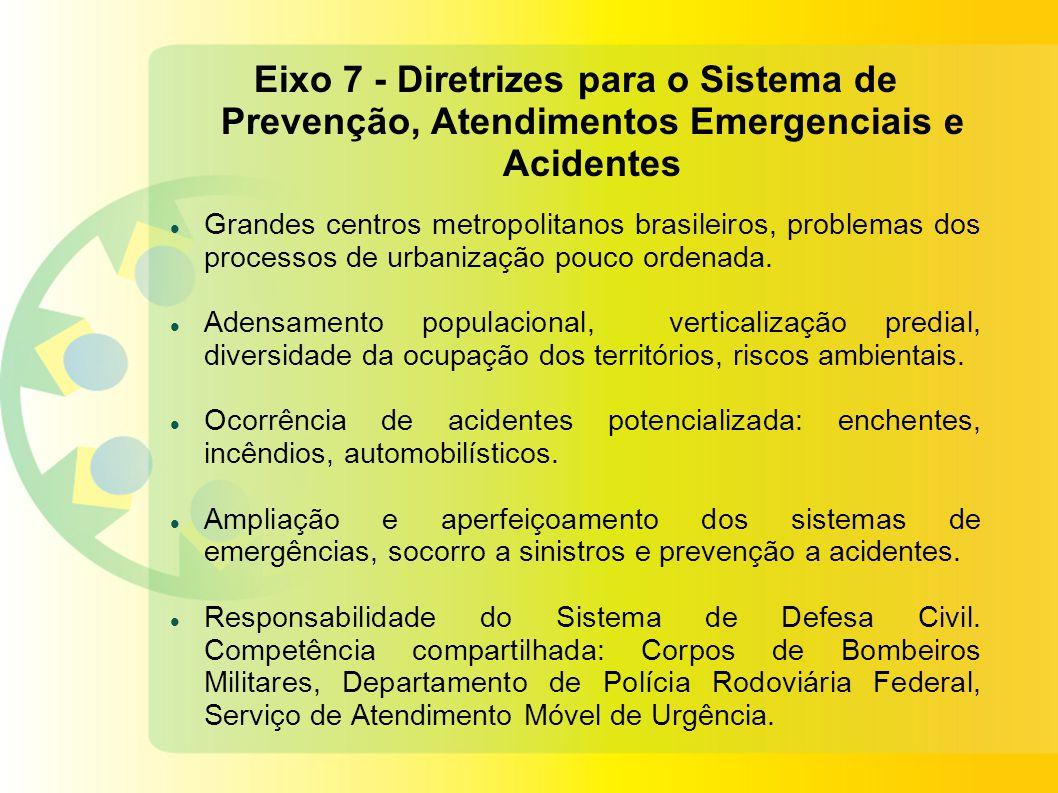 Eixo 7 - Diretrizes para o Sistema de Prevenção, Atendimentos Emergenciais e Acidentes
