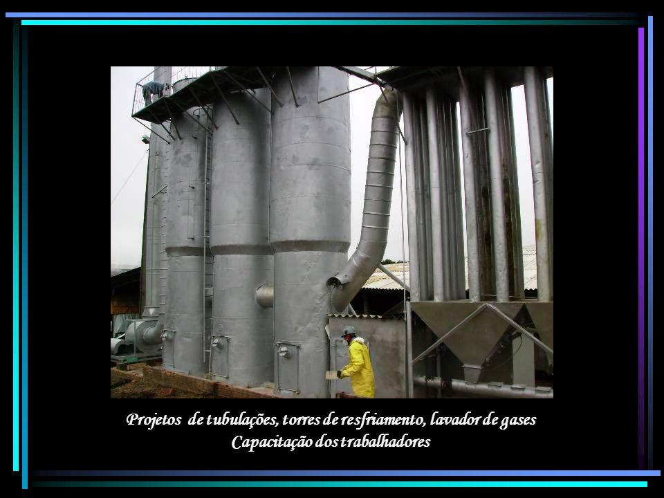 Projetos de tubulações, torres de resfriamento, lavador de gases Capacitação dos trabalhadores