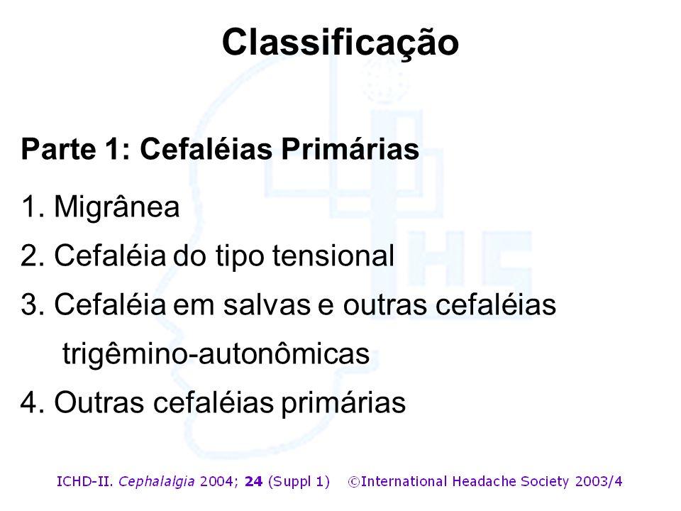 Classificação Parte 1: Cefaléias Primárias 1. Migrânea