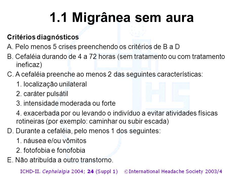 1.1 Migrânea sem aura Critérios diagnósticos