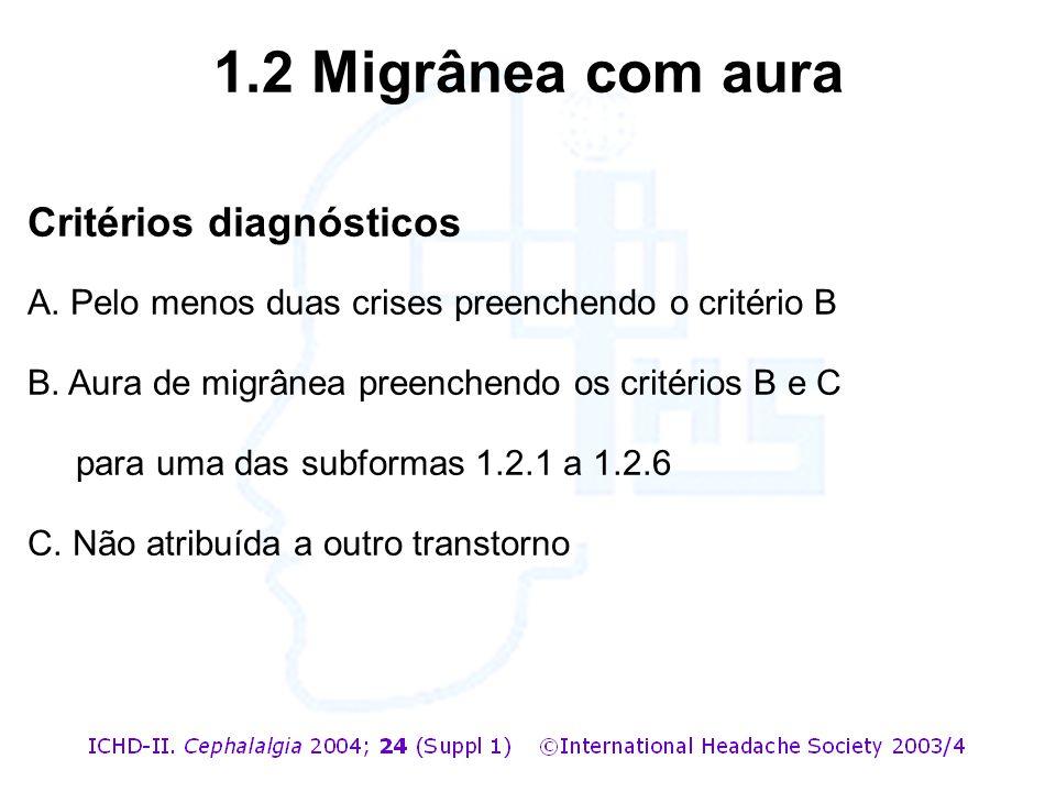 1.2 Migrânea com aura Critérios diagnósticos