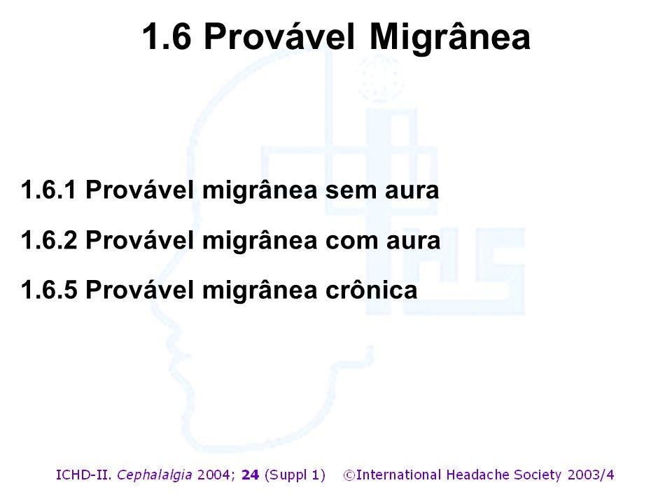 1.6 Provável Migrânea 1.6.1 Provável migrânea sem aura