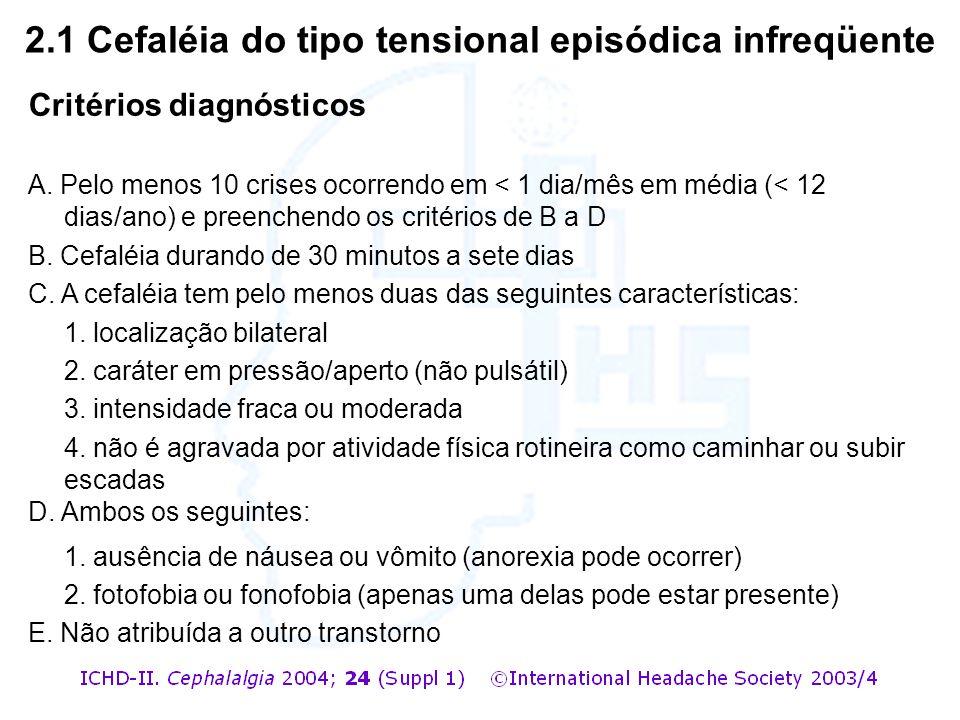 2.1 Cefaléia do tipo tensional episódica infreqüente