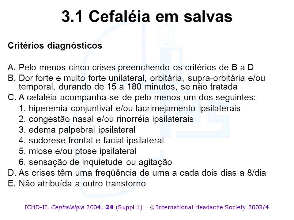 3.1 Cefaléia em salvas Critérios diagnósticos