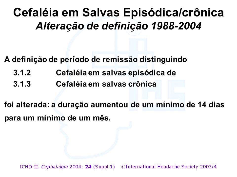 Cefaléia em Salvas Episódica/crônica Alteração de definição 1988-2004