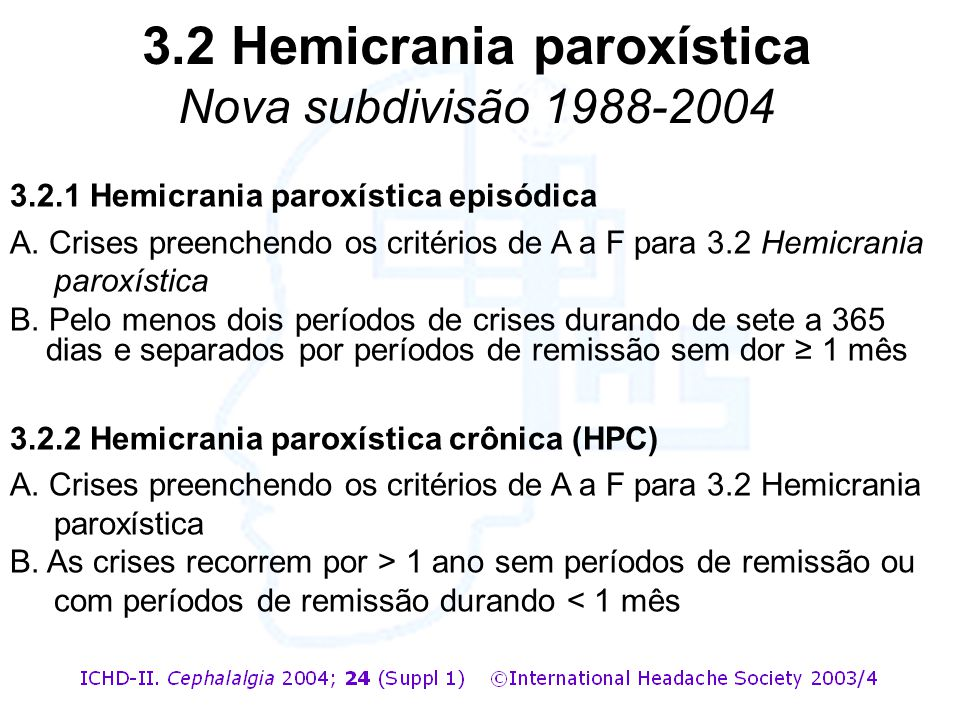 3.2 Hemicrania paroxística Nova subdivisão 1988-2004