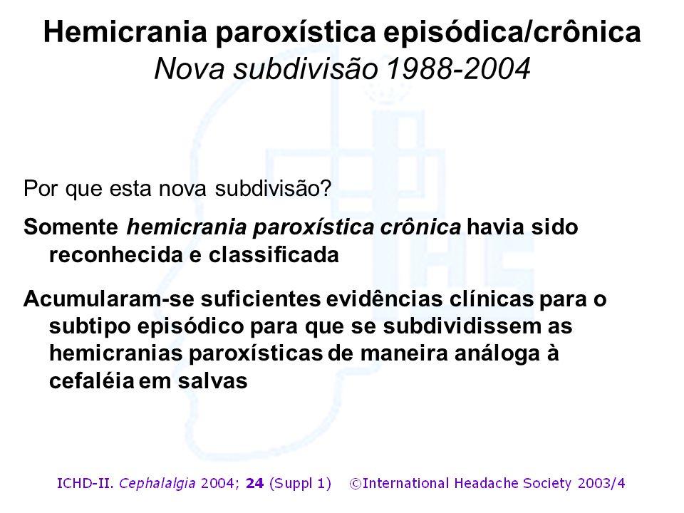 Hemicrania paroxística episódica/crônica Nova subdivisão 1988-2004