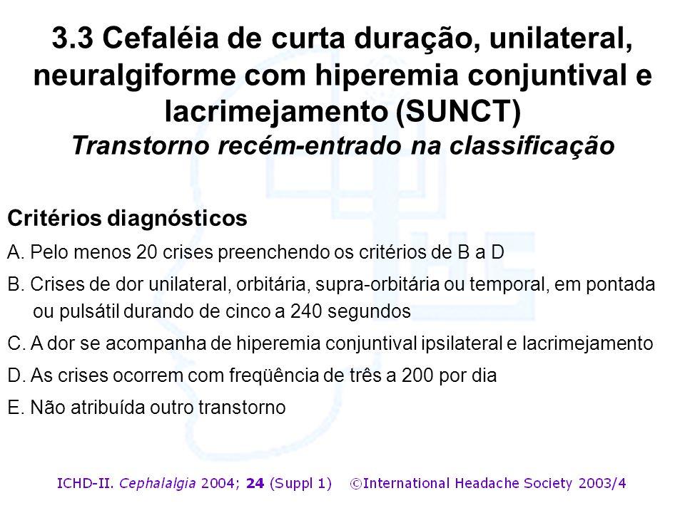 3.3 Cefaléia de curta duração, unilateral, neuralgiforme com hiperemia conjuntival e lacrimejamento (SUNCT) Transtorno recém-entrado na classificação