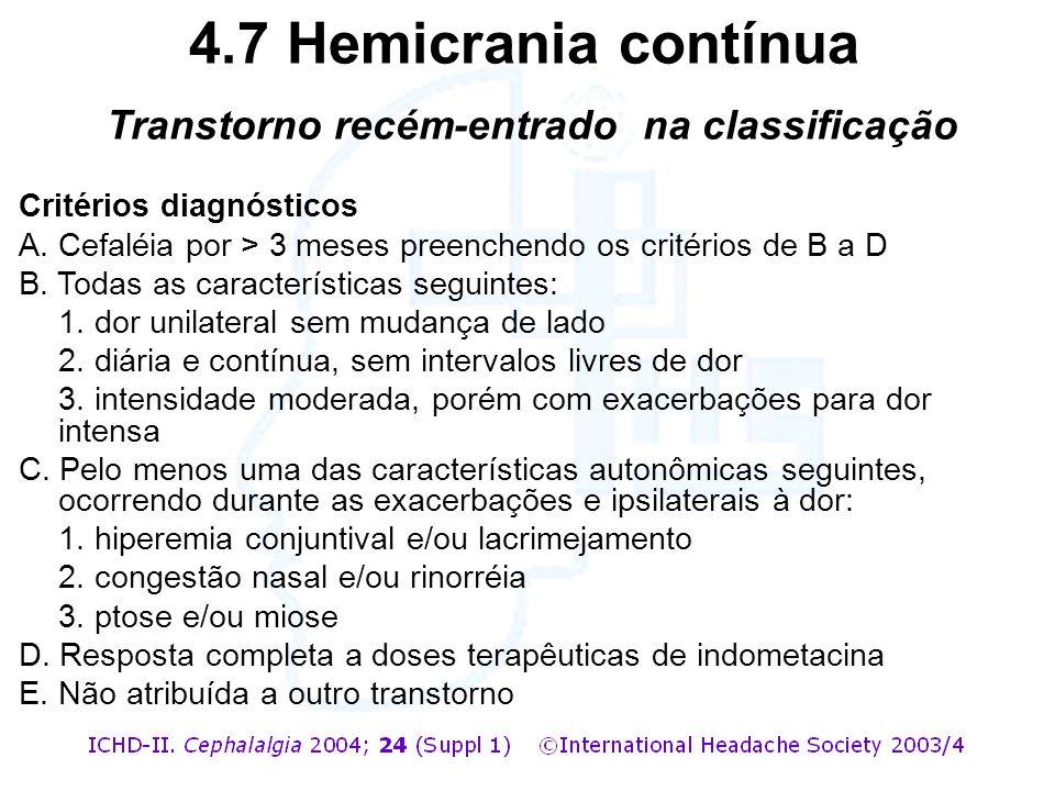 4.7 Hemicrania contínua Transtorno recém-entrado na classificação