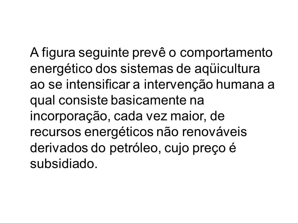 A figura seguinte prevê o comportamento energético dos sistemas de aqüicultura ao se intensificar a intervenção humana a qual consiste basicamente na incorporação, cada vez maior, de recursos energéticos não renováveis derivados do petróleo, cujo preço é subsidiado.
