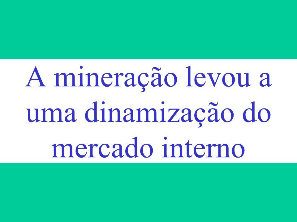 A mineração levou a uma dinamização do mercado interno