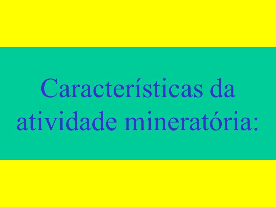 Características da atividade mineratória: