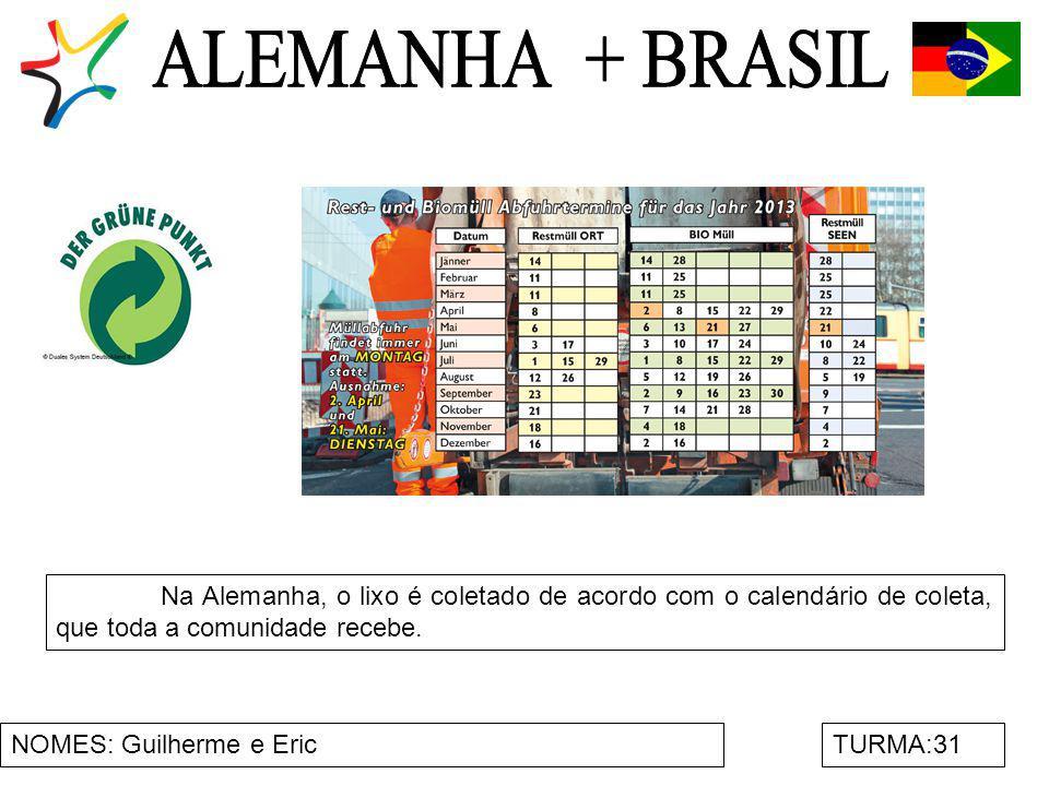 ALEMANHA + BRASIL Na Alemanha, o lixo é coletado de acordo com o calendário de coleta, que toda a comunidade recebe.