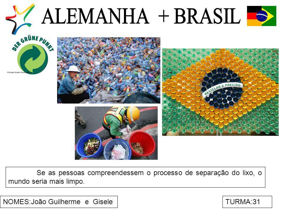 ALEMANHA + BRASIL Se as pessoas compreendessem o processo de separação do lixo, o mundo seria mais limpo.