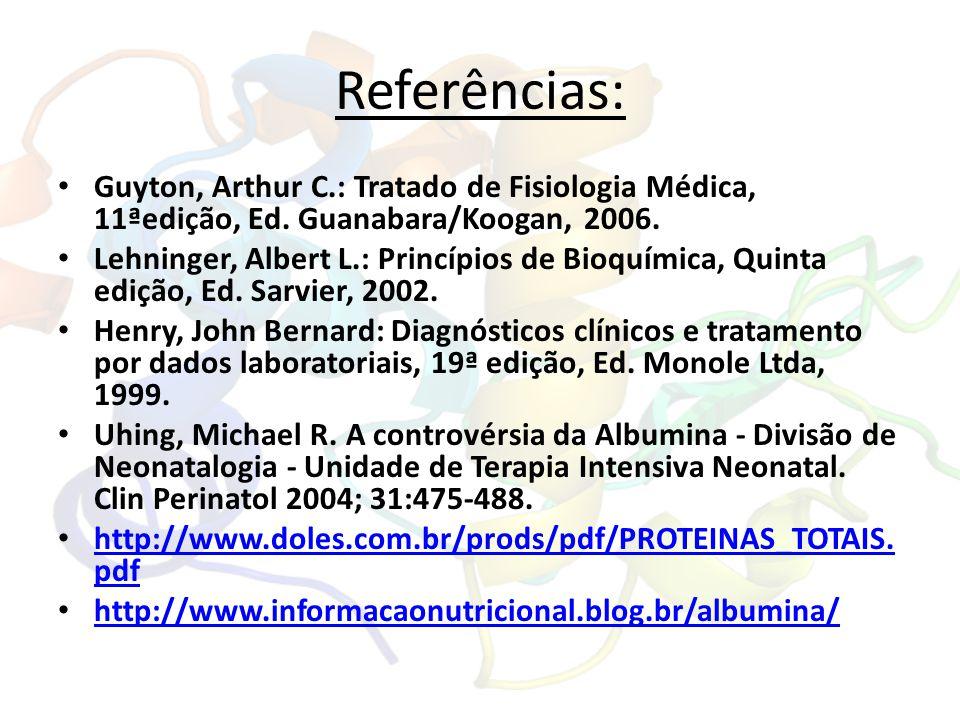 Referências: Guyton, Arthur C.: Tratado de Fisiologia Médica, 11ªedição, Ed. Guanabara/Koogan, 2006.