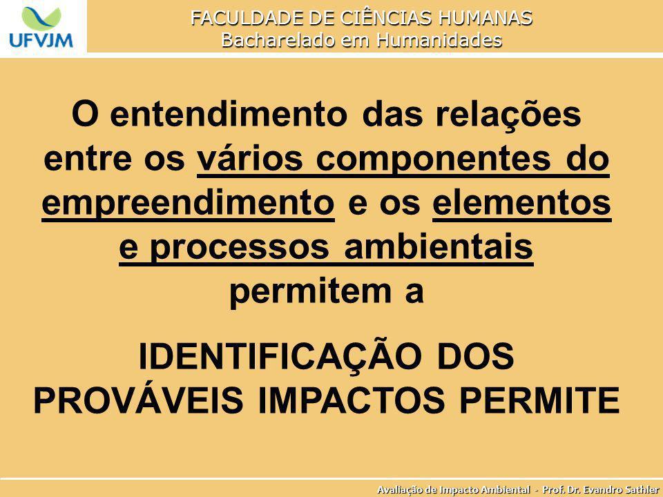 IDENTIFICAÇÃO DOS PROVÁVEIS IMPACTOS PERMITE