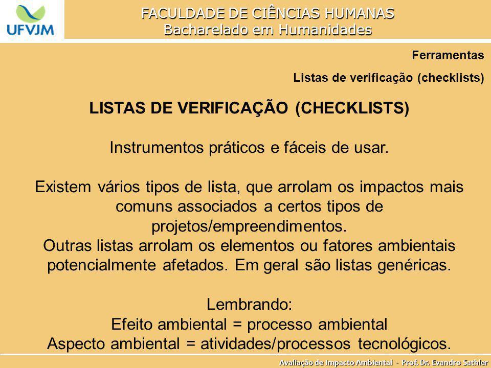 LISTAS DE VERIFICAÇÃO (CHECKLISTS)