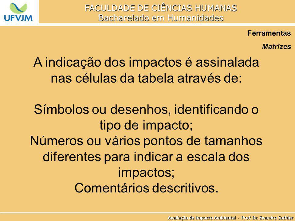 Símbolos ou desenhos, identificando o tipo de impacto;