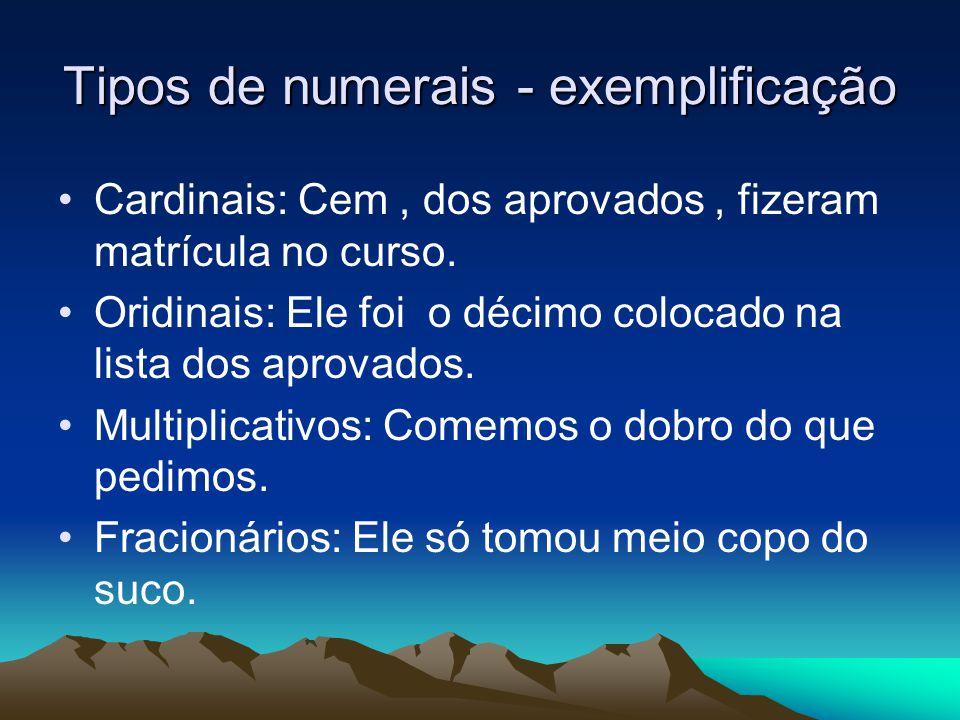 Tipos de numerais - exemplificação
