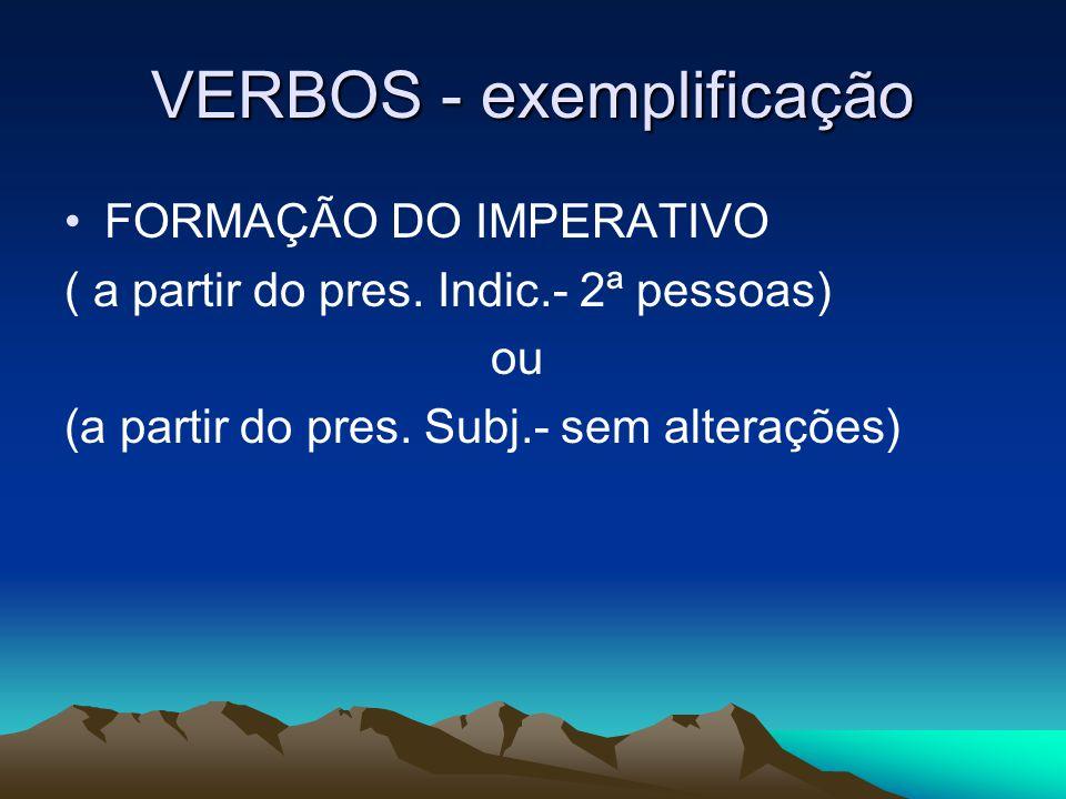 VERBOS - exemplificação