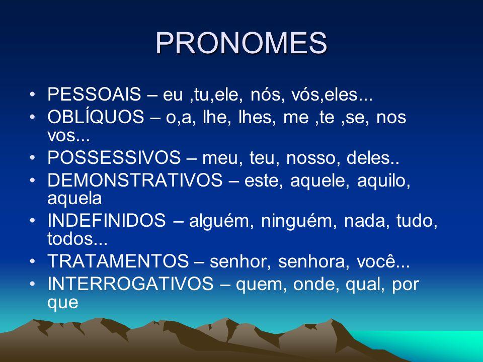 PRONOMES PESSOAIS – eu ,tu,ele, nós, vós,eles...