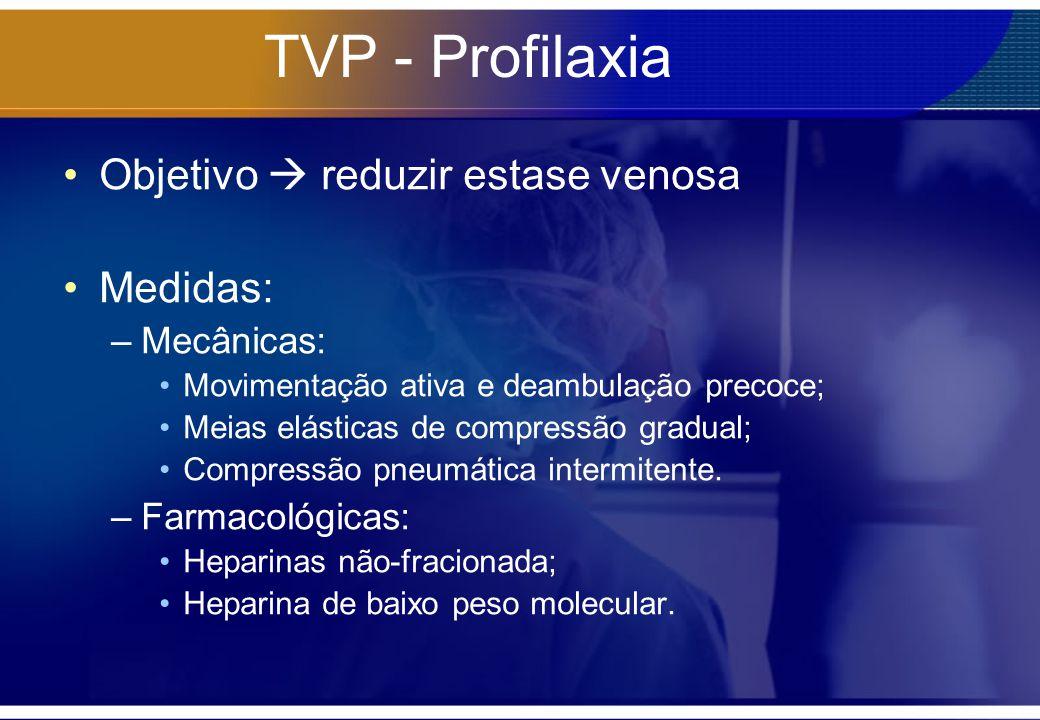 TVP - Profilaxia Objetivo  reduzir estase venosa Medidas: Mecânicas: