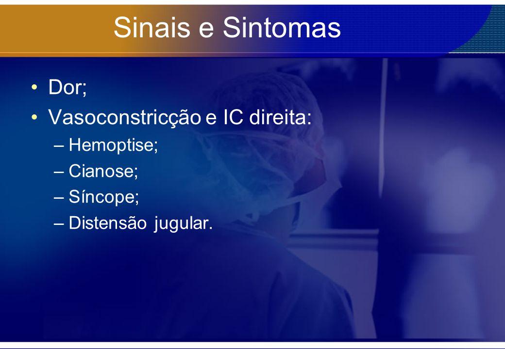 Sinais e Sintomas Dor; Vasoconstricção e IC direita: Hemoptise;