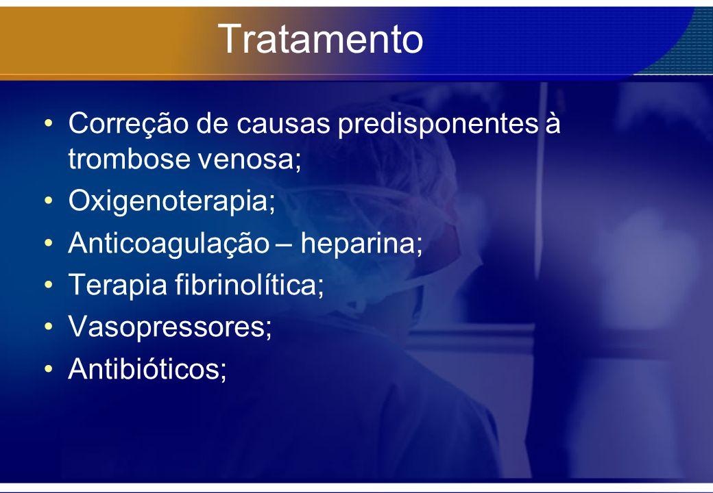 Tratamento Correção de causas predisponentes à trombose venosa;