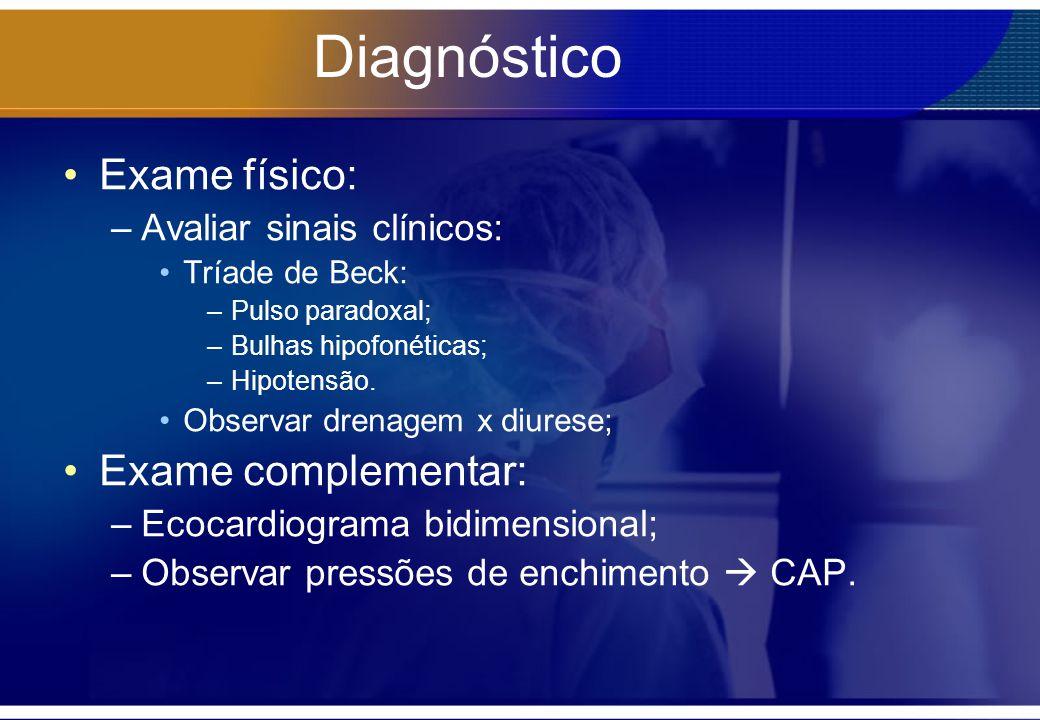 Diagnóstico Exame físico: Exame complementar: Avaliar sinais clínicos:
