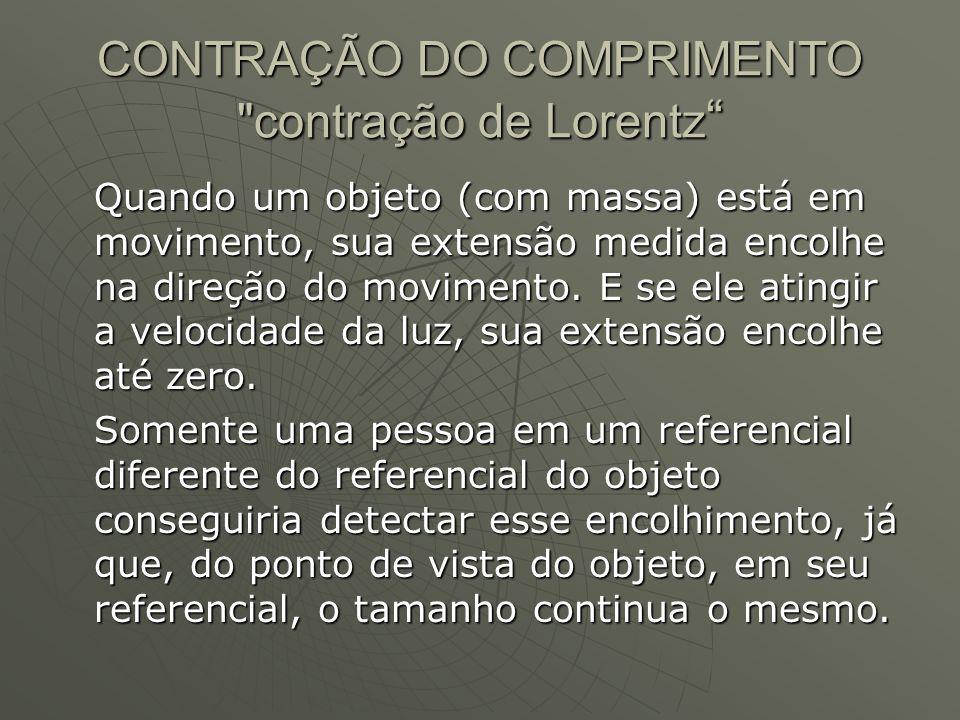 CONTRAÇÃO DO COMPRIMENTO contração de Lorentz
