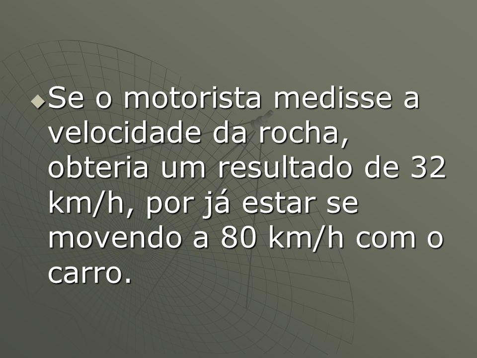 Se o motorista medisse a velocidade da rocha, obteria um resultado de 32 km/h, por já estar se movendo a 80 km/h com o carro.