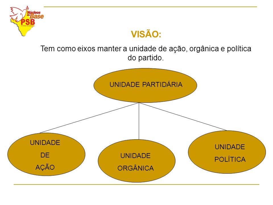 VISÃO: Tem como eixos manter a unidade de ação, orgânica e política do partido. UNIDADE PARTIDÁRIA.