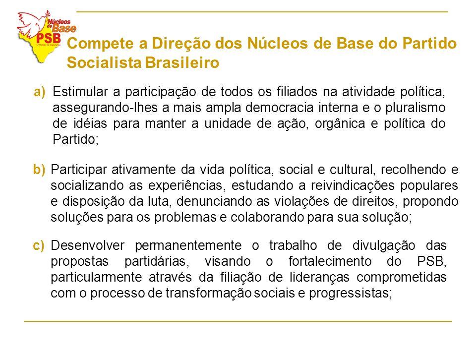 Compete a Direção dos Núcleos de Base do Partido Socialista Brasileiro