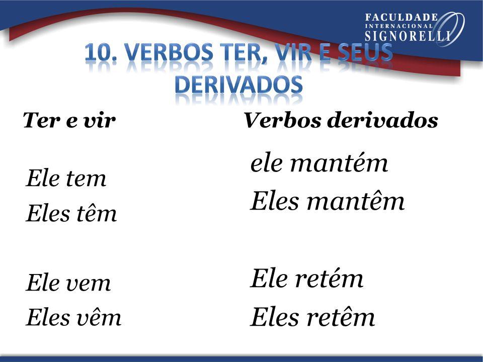 10. Verbos ter, vir e seus derivados