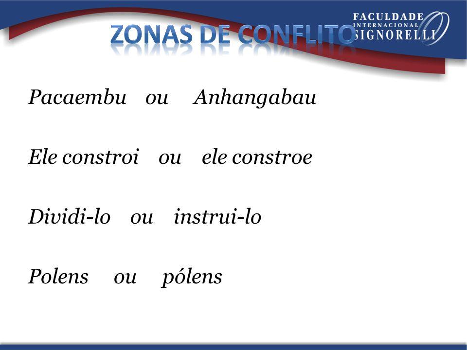 Zonas de conflito Pacaembu ou Anhangabau Ele constroi ou ele constroe Dividi-lo ou instrui-lo Polens ou pólens