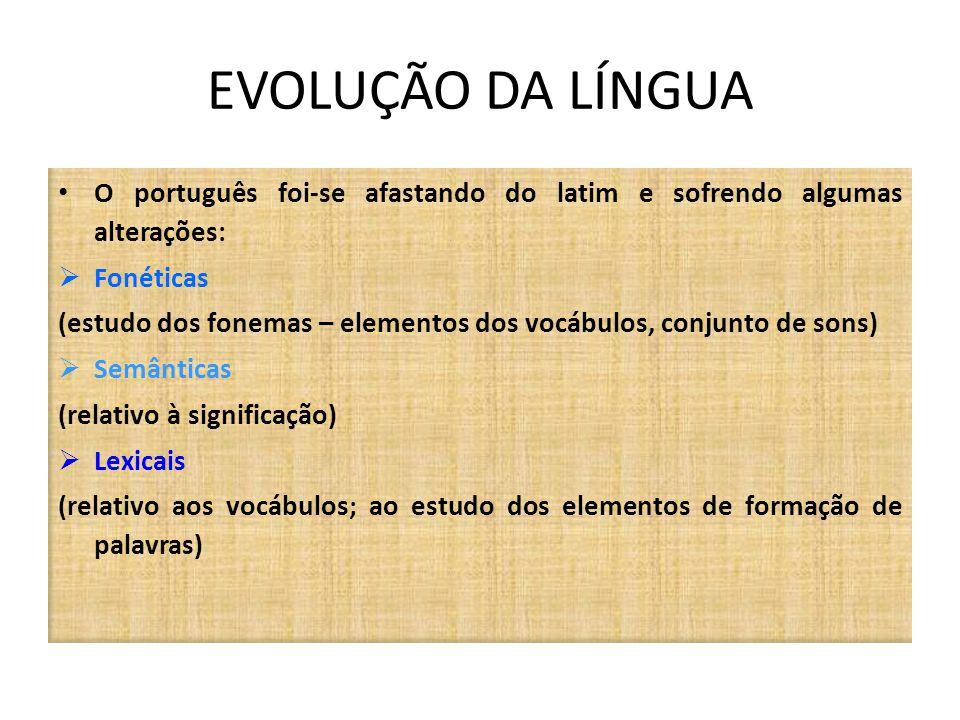 EVOLUÇÃO DA LÍNGUA O português foi-se afastando do latim e sofrendo algumas alterações: Fonéticas.