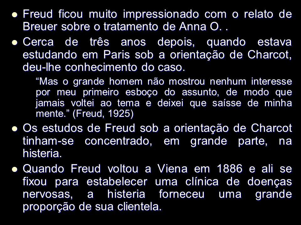 Freud ficou muito impressionado com o relato de Breuer sobre o tratamento de Anna O. .