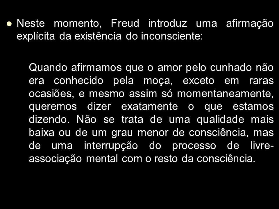 Neste momento, Freud introduz uma afirmação explícita da existência do inconsciente: