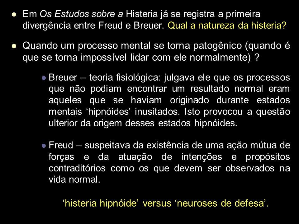'histeria hipnóide' versus 'neuroses de defesa'.