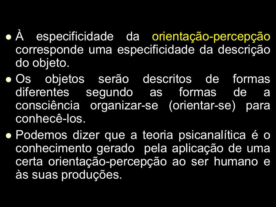 À especificidade da orientação-percepção corresponde uma especificidade da descrição do objeto.