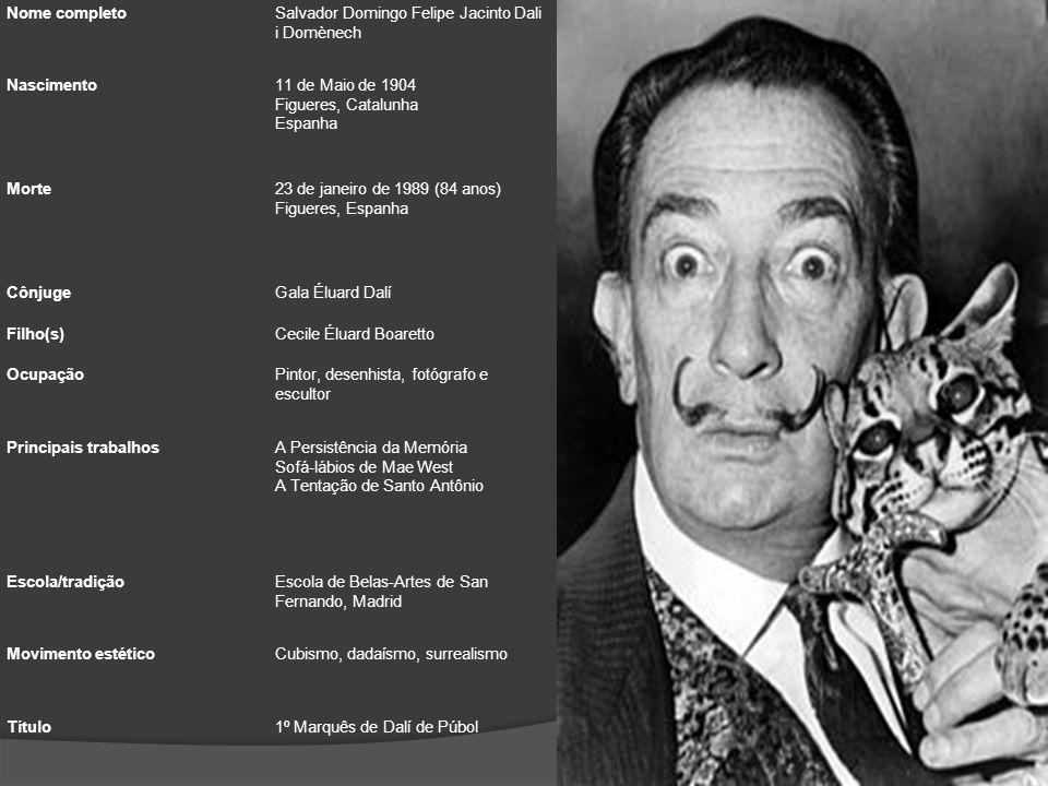 Nome completo Salvador Domingo Felipe Jacinto Dali i Domènech. Nascimento. 11 de Maio de 1904 Figueres, Catalunha Espanha.