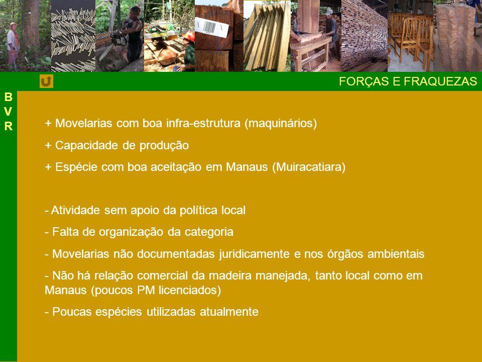 BVR FORÇAS E FRAQUEZAS. + Movelarias com boa infra-estrutura (maquinários) + Capacidade de produção.
