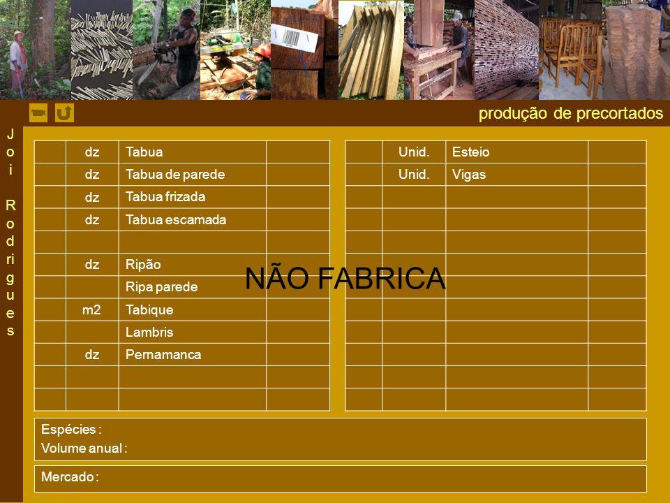 NÃO FABRICA produção de precortados Joi Rodrigues dz Tabua Unid.