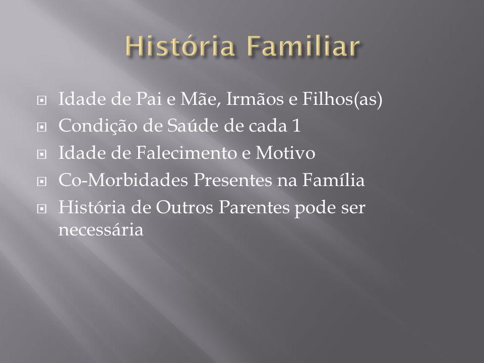 História Familiar Idade de Pai e Mãe, Irmãos e Filhos(as)