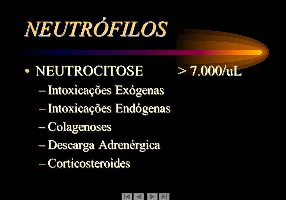 NEUTRÓFILOS NEUTROCITOSE > 7.000/uL Intoxicações Exógenas