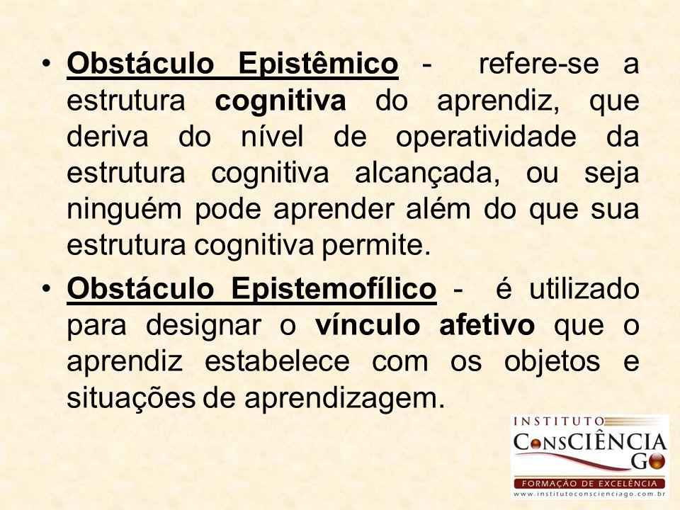 Obstáculo Epistêmico - refere-se a estrutura cognitiva do aprendiz, que deriva do nível de operatividade da estrutura cognitiva alcançada, ou seja ninguém pode aprender além do que sua estrutura cognitiva permite.