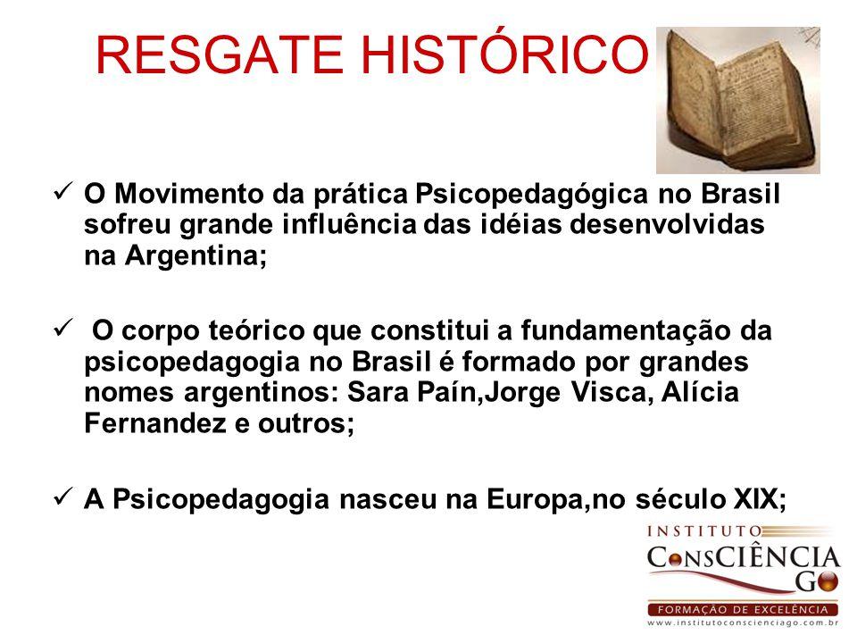 RESGATE HISTÓRICO O Movimento da prática Psicopedagógica no Brasil sofreu grande influência das idéias desenvolvidas na Argentina;
